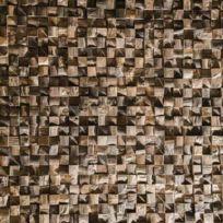 Wanda Collection - Parement mosaïque en teck recyclé naturel carré 20cm x 55cm