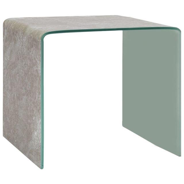 Vidaxl Table Basse Marron Marbre 50x50x45 cm Verre Trempé Table d'Appoint