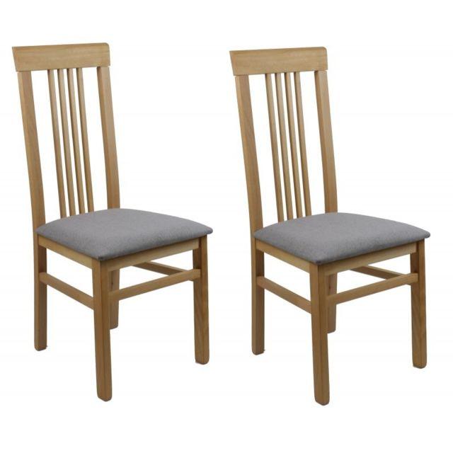 Lot 2 chaises salle à manger en bois - assise gris clair - Irina