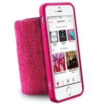 Puro - Coque souple rose avec brassard poignet anti-humidité pour iPhone 5s