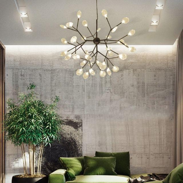 Lampe Suspendue Luminaire Salon Personnalite Creative Art Led Moderne Chambre Minimaliste Restaurant Branche Luciole Lustre 36 Tetes Noir Blanc Chaud
