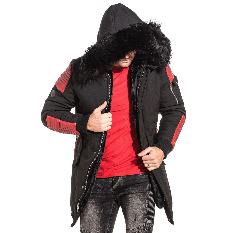 Project X - Parka homme long noir simili cuir rouge fourrure - pas ... a8bc5493a400