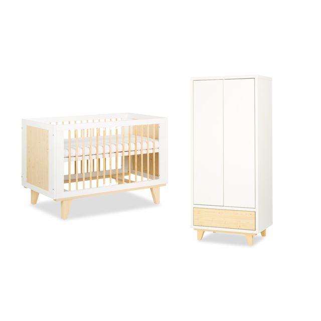 Klups Lit bébé 60x120 et Armoire 2 portes LittleSky by Lydia - Blanc