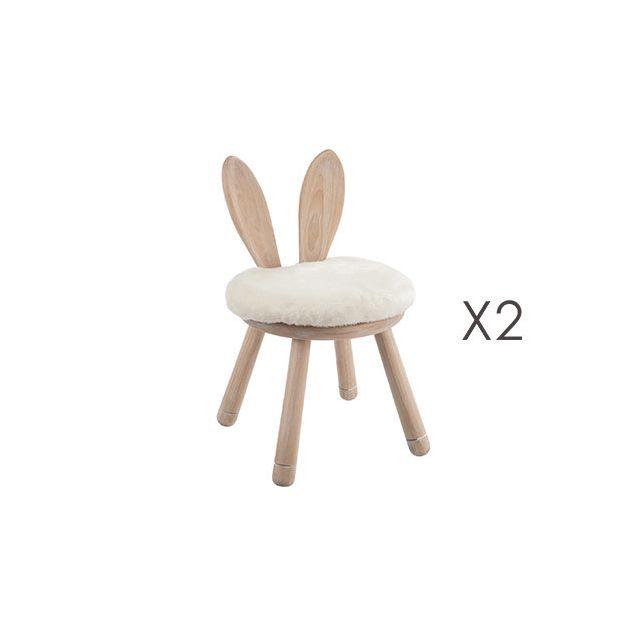 Lot de 2 chaises lapin en bois naturel