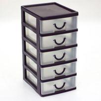 Touslescadeaux - Petit Bloc Coffret Tour - Boite de rangement 5 tiroirs plastique - violet