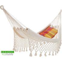 Ecomundy - Romance L – Hamac avec frange – coton bio naturel – Gots