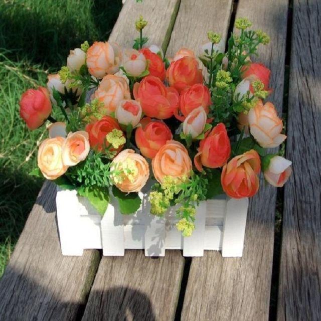 Wewoo Fleurs Artificielles 16cm clôture en bois petit thé bourgeon jardin simulation fleur kit plante pots balcon décor Jaune