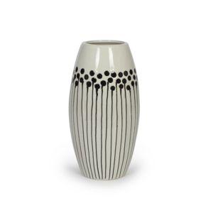 alin a joss vase en c ramique noir et blanc h26cm pas cher achat vente vases rueducommerce. Black Bedroom Furniture Sets. Home Design Ideas