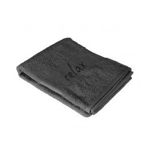 marque generique serviette de bain 50 x 90 cm brod s relax anthracite gris pas cher achat. Black Bedroom Furniture Sets. Home Design Ideas