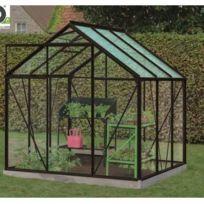 Serre de jardin en verre trempé Daisy - 3,8m², Couleur Noir, Base Avec base  - longueur : 195