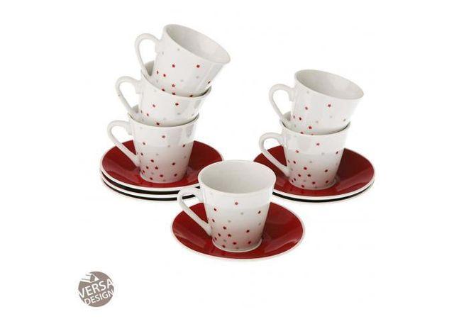 Declikdeco Dégustez vos boissons chaudes préférées en famille grâce à ce Service de 6 Tasses Café Avec Soucoupe Etoile Rouge Geral