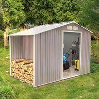 Concept Usine - Ventoux 6.53 m² : abri de jardin avec abri bûches en metal anti-corrosion gris