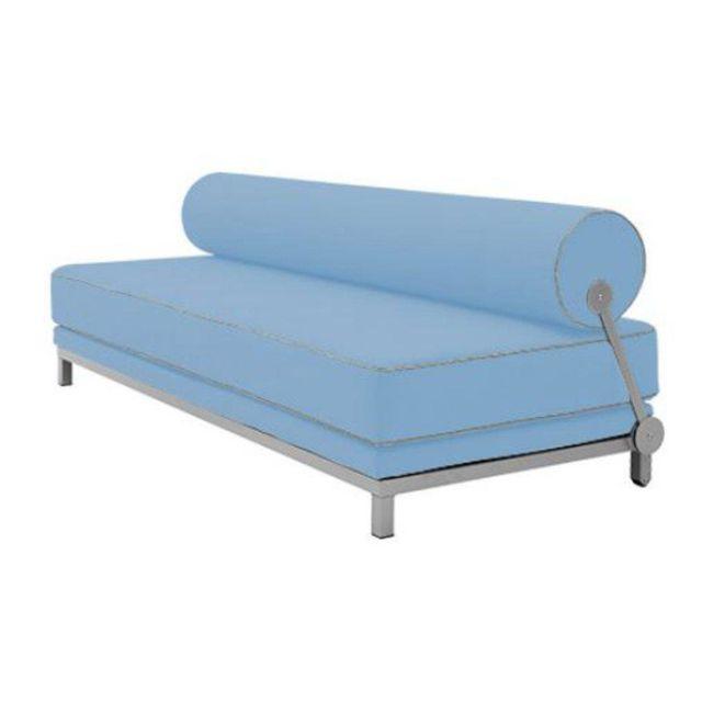 Inside 75 Canapé lit convertible design Sleep en tissu laine bleu structure aluminium Softline