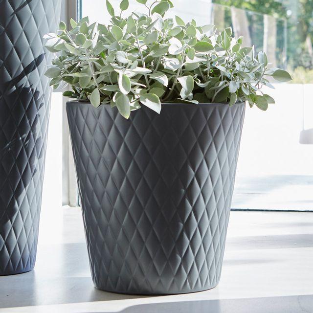 elho pot de fleur rond en poly thyl ne imitation c ramique pure anthracite 37cm pas cher. Black Bedroom Furniture Sets. Home Design Ideas
