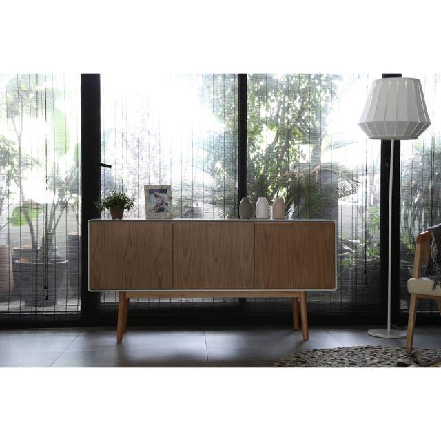 CONCEPT USINE LAHTI bois naturel et blanc -Buffet enfilade scandinave - 3 portes