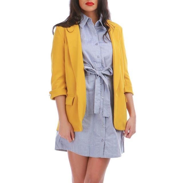 Veste blazer femme jaune moutarde