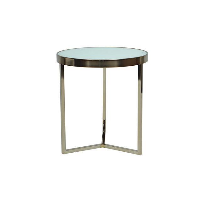 Table basse ronde acier et verre blanc