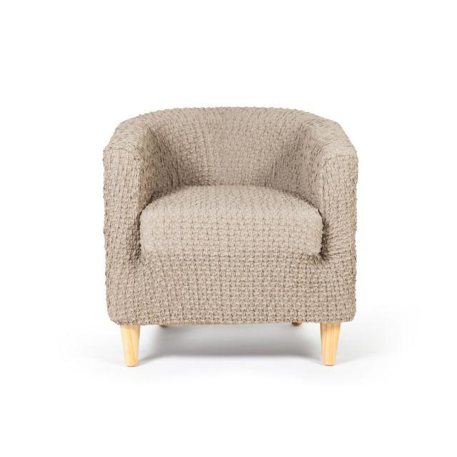 dlm housse de fauteuil cabriolet club unie beige effet. Black Bedroom Furniture Sets. Home Design Ideas