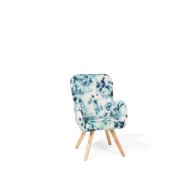 BELIANI Fauteuil bleu avec motif floral BJARN - coloré