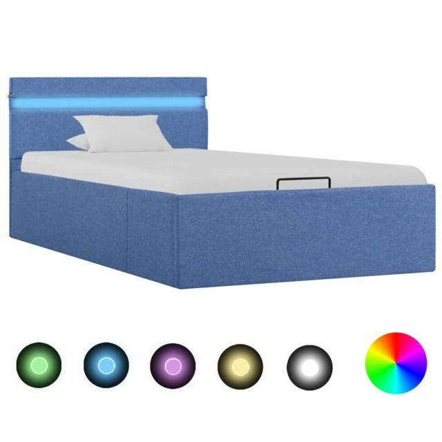 Uco Cadre de lit à stockage hydraulique et Led Bleu Tissu 90x200 cm