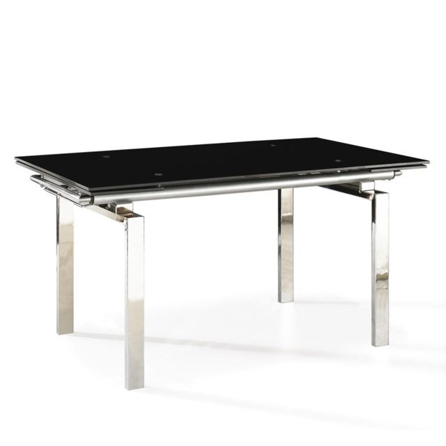 Tousmesmeubles Table de repas à allonges Noir - Turino - L 160/220 x l 90 x H 76