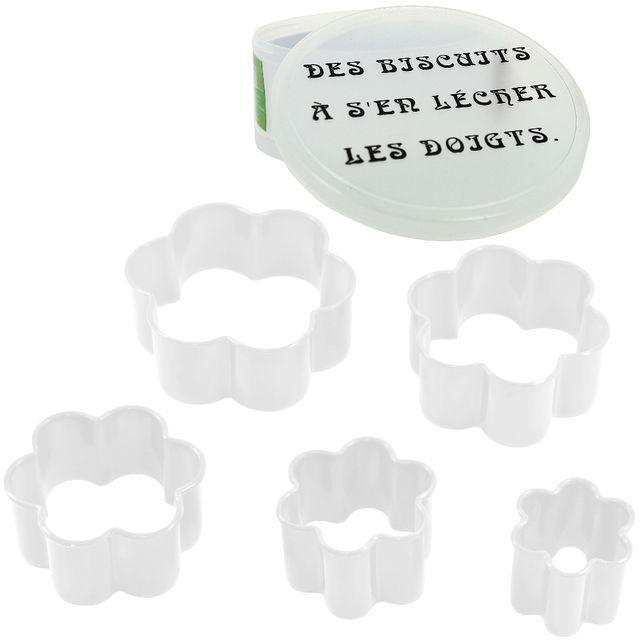 Promobo Coffret Lot 5 Emporte Piece Patisserie Biscuit Humour Forme Fleur