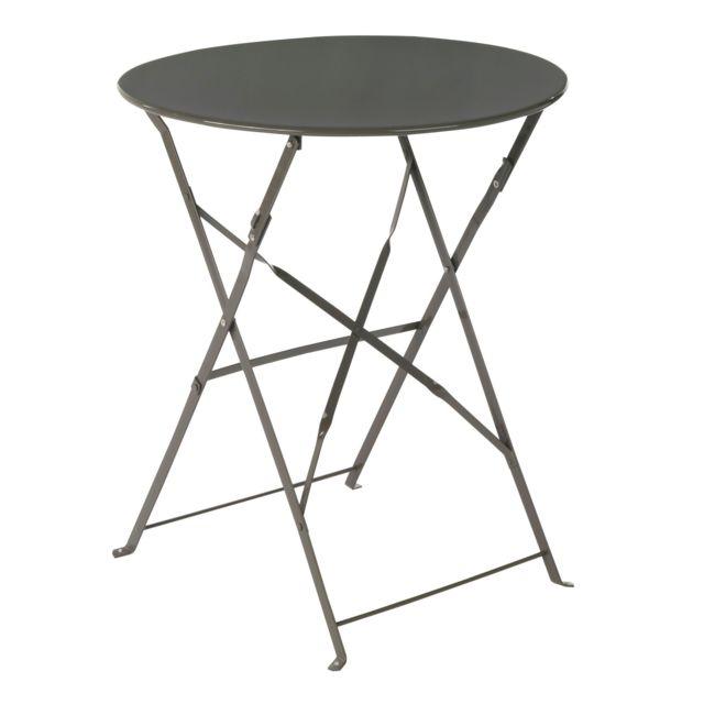 Alinéa - Pims Table de jardin pliante taupe en acier 2 places - pas ...