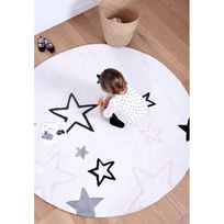 Lilipinso - Tapis Etoiles rond rose chambre bebe par - Couleur - Rose, Taille - 150 / 150