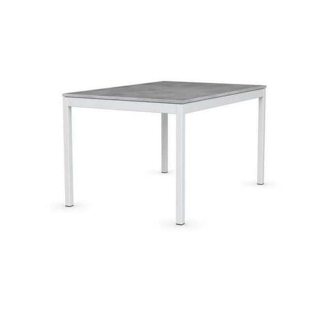 Inside 75 Table Extensible Snap Gris Béton Piétement Laqué Blanc