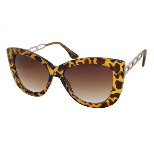99c44e6b78502 Universel - Lunette de soleil femme gros cat eyes leopard branche metal pin  up rockabilly