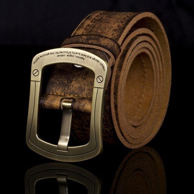 987c91fc1d22 Wewoo - Ceinture Boucle de cuivre Hommes en cuir Vintage Handmade en de mode
