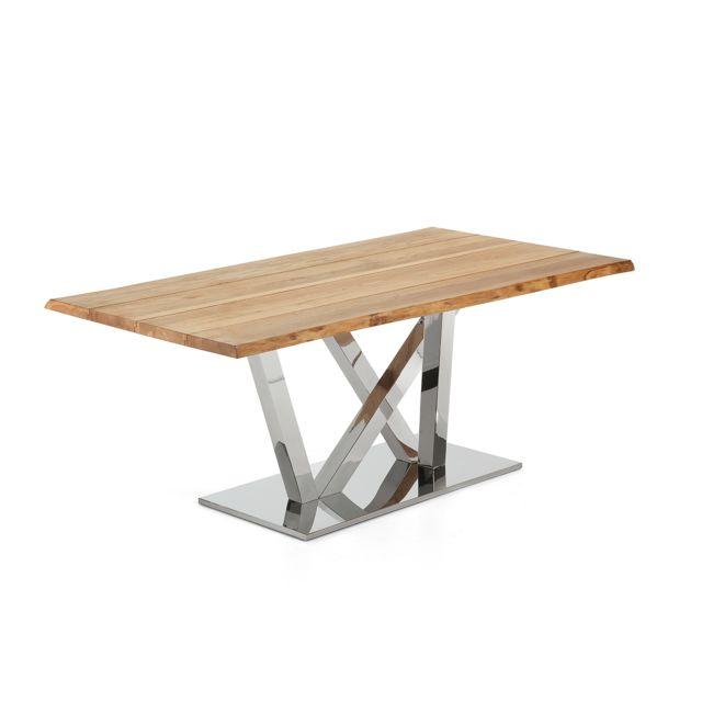 Kavehome Table Nyc 180x100, inox plateau chêne