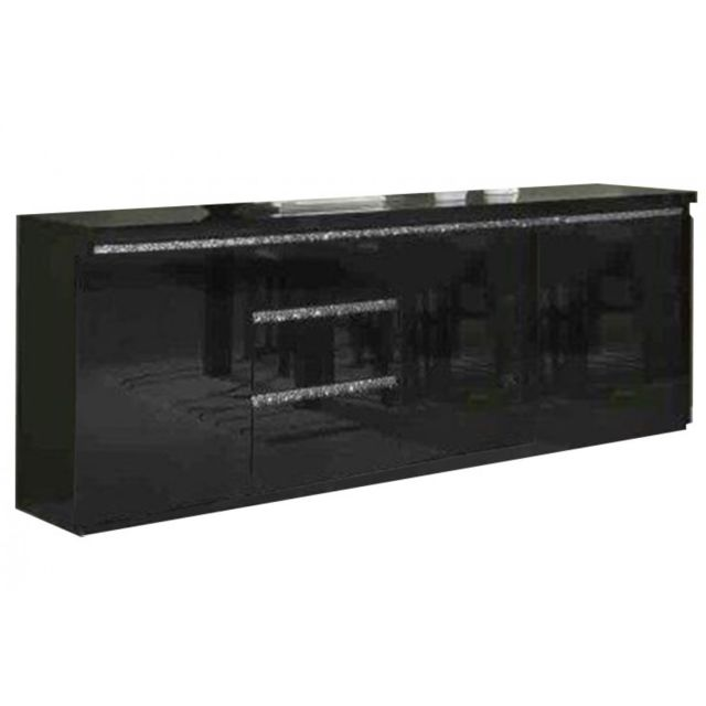 Decodesign Bahut 220cm design laqué noir avec strass Cromo