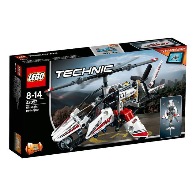 Lego Technic - L'hélicoptère ultra-léger - 42057 Cet hélicoptère ultra-léger LEGO® Technic 2-en-1 comprend des rotors qui tournent, un gouvernail qui fonctionne, un moteur détaillé avec des pistons mobiles, et des co
