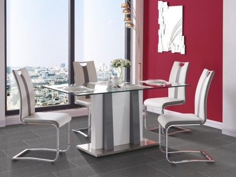 MARQUE GENERIQUE - Table à manger CIARA - MDF laqué & verre ...