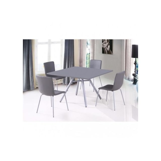 Price Factory Ensemble Table Et 4 Chaises Texas Gris Ideal Pour
