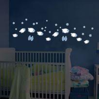 Crearreda - Sticker phosphorescent repositionnable étoiles et moutons en vinyle Stars