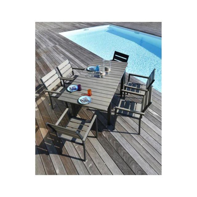 Usines Discount - Table 120-180 + 6 fauteuils - pas cher Achat ...