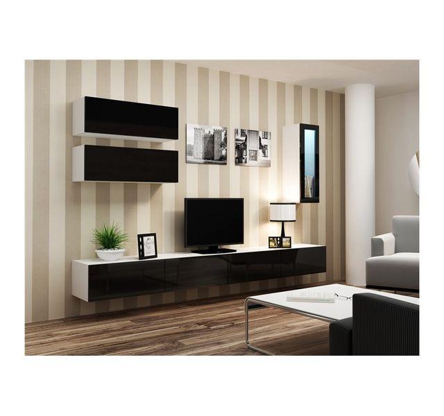 CHLOE DESIGN Meuble tv design suspendu BINI - blanc et noir