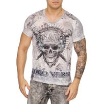 Violento - T shirt pirate strass gris