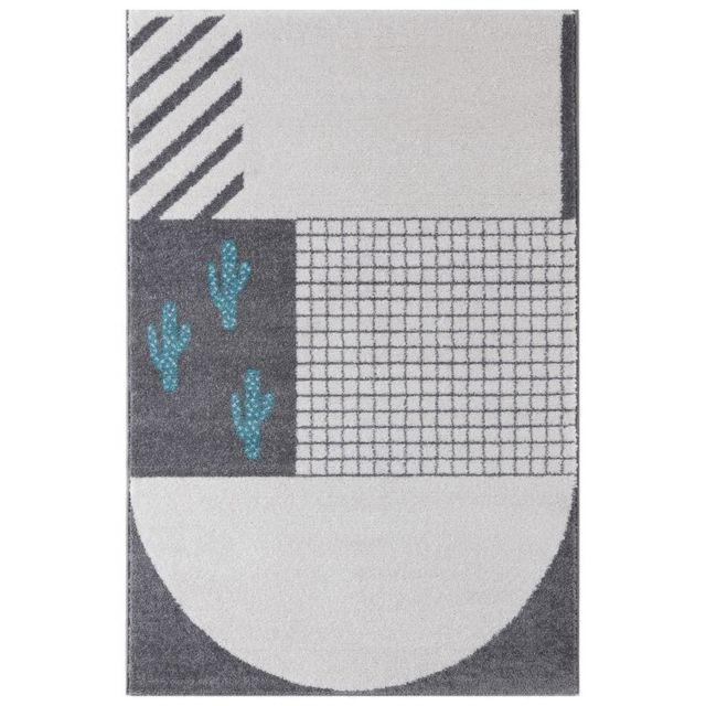 Art For Kids - Tapis Cactus Bleu rectangle chambre enfant par - Couleur - Bleu, Taille - 100 x 150 cm