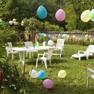 Grosfillex table de jardin vega avec allonge blanc 220 x - Salon de jardin grosfillex vega blanc ...