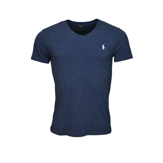 7fd7e85a979da0 Ralph Lauren - T-shirt col V basique bleu marine chiné pour homme - pas  cher Achat   Vente Tee shirt homme - RueDuCommerce