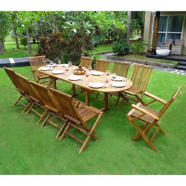 Wood en stock salon de jardin en teck ensemble pour 10 - Salon de jardin 8 personnes pas cher ...