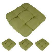 Mendler - 4x coussin Dublin, coussins de chaise, 43x41x3cm ~ vert clair