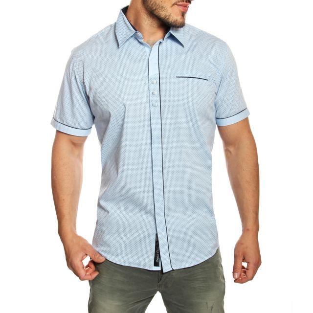 29f6a80bf1c1 Carisma - Chemise homme slim fit bleu clair à motifs manches courtes - pas  cher Achat   Vente Chemise homme - RueDuCommerce