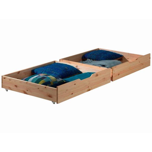 Comforium Set de 2 tiroirs de rangement 97x88 cm en pin massif coloris naturel pour lit 90x200 cm