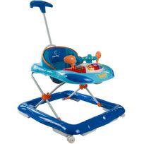 Sun Baby - Trotteur interactif avec poussoir et volant pour bébé 6-12 mois | Bleu