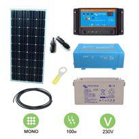 Victron - Kit solaire autonome 100w autonome mono + convertisseur 230v