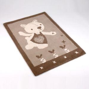 amadeus tapis enfant 100 laine marron beige motif ours 75x110cm barnabe jardinier pas cher. Black Bedroom Furniture Sets. Home Design Ideas